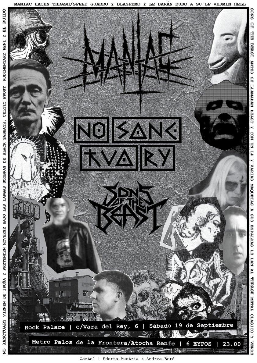 NO SANCTUARY + MANIAC + SONS OF THE BEAST / Sábado 19 Septiembre 2015 / Rock Palace, Madrid Full